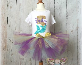 Mermaid birthday outfit - mermaid tutu outfit - gold and purple mermaid outfit - girls birthday outfit - personalized mermaid outfit