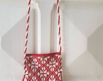 Red & White Tapestry Crocheted Small Purse/Handbag.