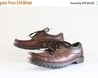 SALE cocoa leather lace ups / 10