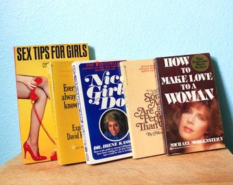 vintage 70s and 80s sex books / gift for her / bachelorette / set of five