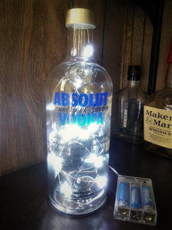 String Lights In Bottles : Absolut Vodka Bottle Bar String Light Lamp repurposed recycled