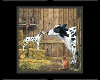 Fabric Quilting Cottons Farm Life-Cows Panel Black Elizabeth's Studio FLC01