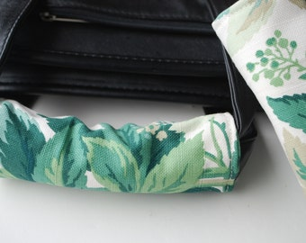 Luggage Handle Wrap Set of 2,Green leaves pattern