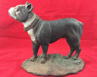 Antique Bradley & Hubbard Boston Terrier Door Stop Cast Iron Dog Figurine Bulldog  Boxer pet home decor vintage cottage chic animal Rustic