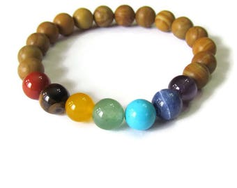 Chakra Tigerskin Jasper Bracelet - Men or Women bead bracelet - Genuine stones