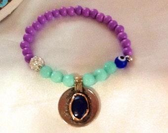Tribal gypsy KUCHI pendant bracelet , bohemian gypsy charm bracelet , belly dance KUCHI bracelet , purple bracelet with KUCHI coin pendant