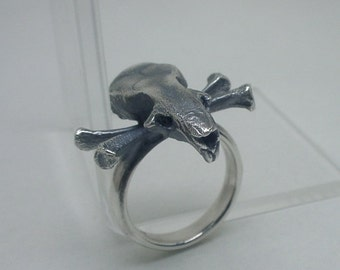 Silver 'Pirate Mouse' Ring, Mouse Skull and Crossbones