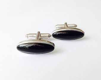 Natural Onyx Cufflnks, mens stone cufflinks, black cuff links, protection gifts - Sterling Silver (925)