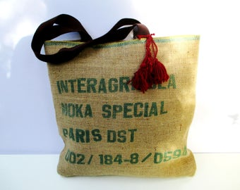 Coffee sack large market tote bag handmade from reusable burlap coffee beans sacks, recycled bag, eco friendly, one of a kind, shoppers bag