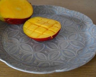 Dinnerware, Dinner Plate, Serving Plate, Serving Platter, Slab Built Plates, Plate Set, Serving Dish, Water Etched pattern