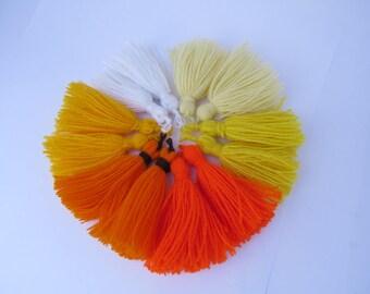 Tassel, Orange tassel, white tassel, Yellow Tassel, pom pom, DIY craft supplies, Tassels for jewelry, dark orange tassel 2 pieces.
