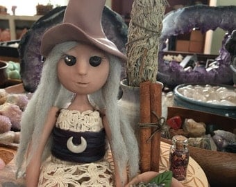 Gwendolyn Sage -The Herbal Witch Goddess, art doll, doll decor, shelf sitter, clay doll, peace goddess, moon goddess, kitchen witch