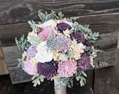 Ready to Ship! Alternative Bridal Bouquet, Purple Sola Flowers, Artificial Dusty Miller, Wedding Bouquet, Keepsake Bouquet