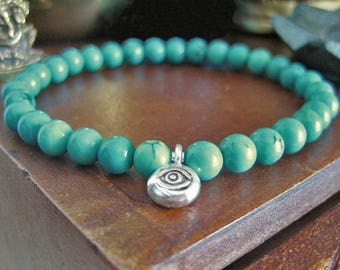 Mens Evil Eye Bracelet - Turquoise Bracelet with Silver Eye Charm, Blue Green Stone Beads, Mens Beaded Bracelet for Protection and Stress