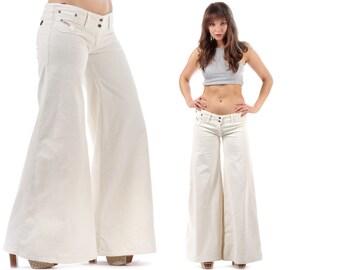 Reserved...Bell-bottom Trousers 80s Elastic Pants White Corduroy Low Waist Hippy Urban Retro . Medium