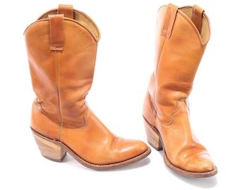 COWBOY Boots 80s Women Harness Beige Boot Real Leather Wooden Cuban Heel Festival Boho Boots Us women 9 , Eur 40 , UK 7