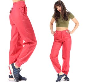 TAPERED Trousers Vintage 80s High Waisted Red Pants Deadstock High Rise Pants 1980s Cotton Minimalist Pleated Retro Trousers Small to Medium