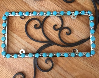 Bling License Plate Frame - Turquoise Flower shaped with silver beads #504968967