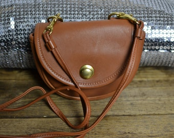 Tiny Crossbody Bag - Vintage COACH USA Cognac Leather Belt Purse - 1980s