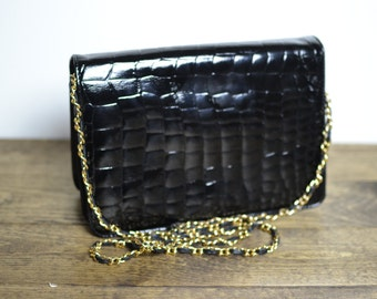 Vintage I Magnin Croc Embossed Patent Leather Chain Strap Convertible Clutch Bag