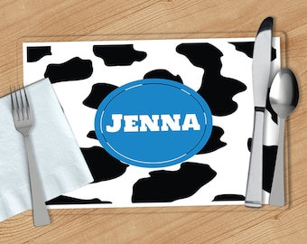 Cow Print -  Personalized Placemat, Customized Placemats, Custom Placemat, Personalized Gift