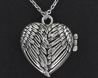 ANGEL WINGS Heart Locket Necklace - Pewter Charm on a FREE Plated Chain
