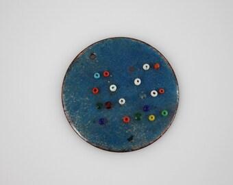 Vintage Copper Enamel Round Pendant Charm - Blue Copper Enamel Mid Century Modern Signed Jewelry Pendant