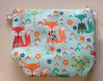 Foxes in Sweaters Wedge Zippered Pouch Project Bag In Stock, Ready to Ship