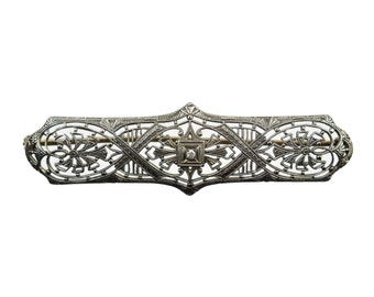 Art Deco 10k White Gold & Diamond Filigree Bar Pin Brooch // Gift for Her // Vintage Art Nouveau Wedding, Something Old