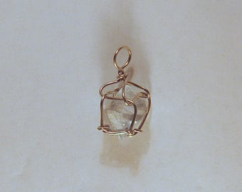 Light Blue Fluorite Octahedron Crystal Wire Wrapped Pendant