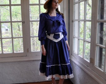NEW YEARS SALE Sailor Moon Costume/Vintage 1960s 1970s/Royal Blue Sailor Blouse and Gunne Sax Midi Skirt/Size Small
