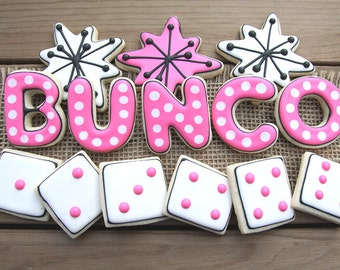 Bunco Party Favors // Bunco Party Decor // Bunco Favors // Bunco // Bunco Sugar Cookies