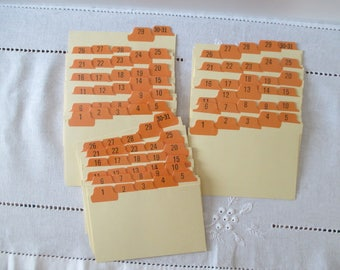 Vintage Index Cards - Numerical Tabbed Dividers
