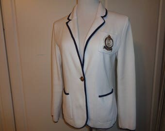 AHOY MATIE!  Vintage Ralph Lauren Nautical Style Blazer in Bright White Jersey Knit Fabric with Navy Blue Trim in Vintage Condition, Size M