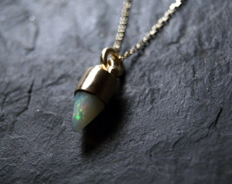 White Fire Opal Bullet Necklace in 14K Solid Yellow Gold...One of a Kind