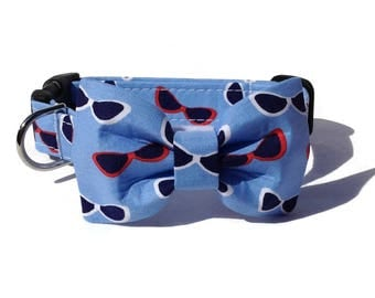 Sunglasses Dog Bow Tie and Collar Set  for Small to Large Dogs