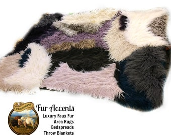Faux Fur Shaggy Llama - Sheepskin Throw Rug - Blanket - Shaggy - Soft - Thick - Rectangle- OOAK - Fur Accents Designer Rugs USA