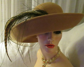 1970's Ladies Large Camel Color Big Brim Felt HAT With Boutique of Feathers by Mr John Jr