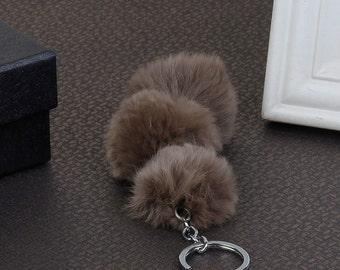 "Angora Key Chain - Silver Tone Coffee - Pom Pom Key Rings - 180x150mm - 7 1/8x5 7/8"" - Ships IMMEDIATELY from California - A516"