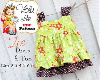 Zoe Toddler Dress Patterns, pdf sewing patterns, Jumper Pattern, Girls Dress Pattern. Girls Sewing Pattern. Top Pattern. Toddler Dresses
