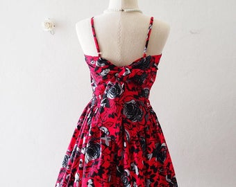 Clearance SALE Crop Top and Skirt Set Red Summer Clothing Retro Pin Up Backless Back bow Crop Set Beauty and the Beast Rose -S-M (US4-US6)