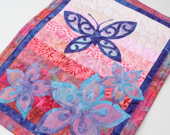 Iridescent Butterfly & Flowers Wall Hanging / Art Quilt, Handmade by PingWynny