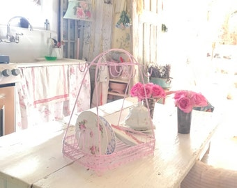 Shabby  pink metal dish and silverware rack  Shabby chic prairie cottage