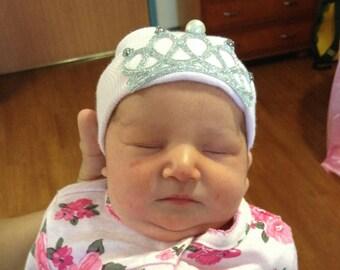 Newborn Hospital Hat Rhinestone Crown (Princess Tiara), newborn hospital bow hat, newborn girl hat, newborn hospital beanie, princess hat