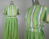 Moving Sale...30% Off Vintage 1950s Cotton Dress 50s Two Piece Striped Spring Dress Set Size XL