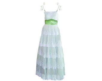 Southern Bell Dress, Layered White Lace, Bridesmaid,  Spaghetti Straps, Vintage Prom, Green Gown