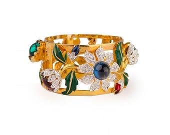 "1939 Coro ""Carmen Miranda"" Bracelet, Gold-Plated Bracelet, Rhinestone Clamper Bracelet, Floral Bracelet, Gold Bangle, Vintage 1930s"