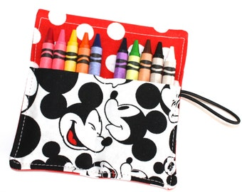 READY TO SHIP! Mickey Mouse Birthday Party Favors Crayon Rolls, made from Mickey Mouse Fabric, sleeves wraps, Mickey Mouse Birthday Party