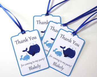 Set of 12 Whales Thank You Party Favor Tags,  Personalized Happy Birthday Party Favors Thank You,Whales Party Decorations