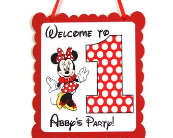 Minnie 1st Birthday Party Door Hanger Personalized with Name, Mickey Minnie Mouse First Birthday Party Door Hanger Sign Welcome